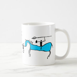 Prehistoric horse rider with pike coffee mug