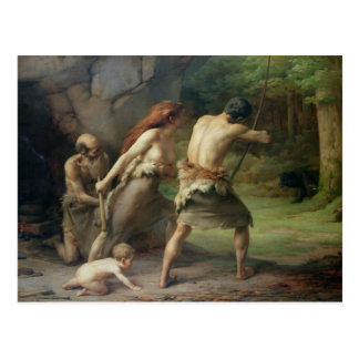 Prehistoric Man Hunting Bears, 1832 Postcard