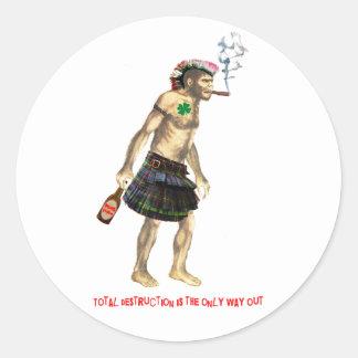 prehistoric punk rock cave man round sticker