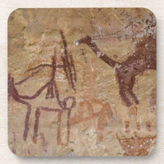 Prehistoric rock paintings with camels and beverage coaster