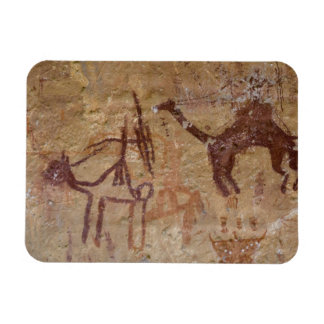 Prehistoric rock paintings with camels and rectangular photo magnet