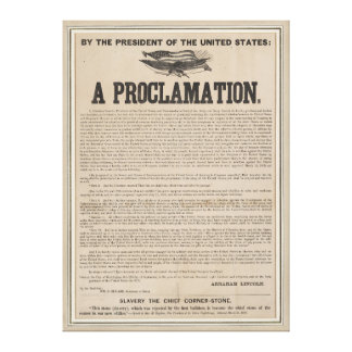 Preliminary Emancipation Proclamation Broadside Canvas Prints