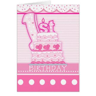 Premier anniversaire de filles cartes de vœux