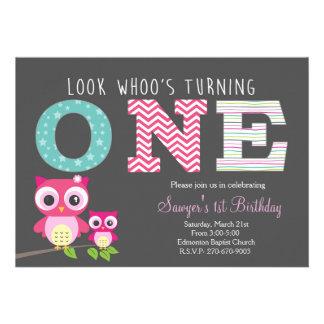 Premier anniversaire de hibou - le regard whoo carton d'invitation  12,7 cm x 17,78 cm