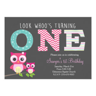 Premier anniversaire de hibou - le regard whoo cartons d'invitation