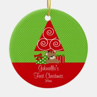 Premier arbre de Noël d'ornement de Noël du bébé Ornement Rond En Céramique