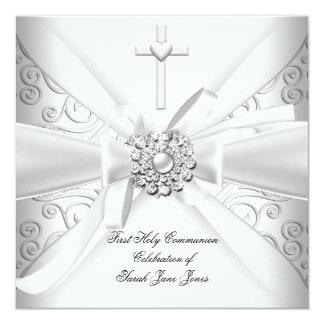 Premier argent de blanc de damassé de sainte carton d'invitation  13,33 cm