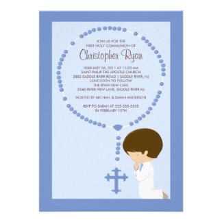 Premier bleu de garçon d invitation de communion d