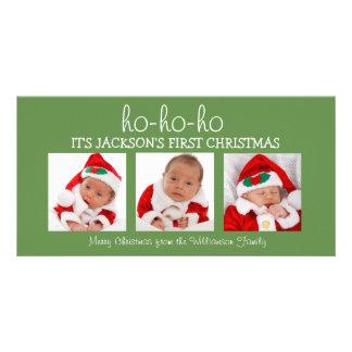 Premier carte photo de Noël trois du bébé