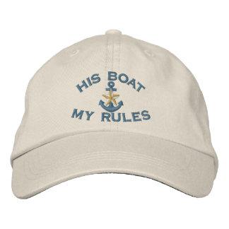 Premier compagnon son bateau mon ancre blanche casquette brodée