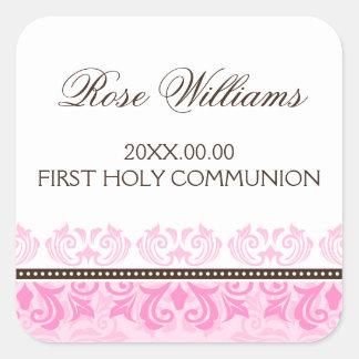 Premier joint d'enveloppe de communion de damassé sticker carré
