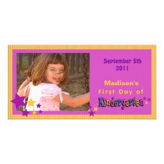 Premier jour de coutume de jardin d enfants person carte avec photo