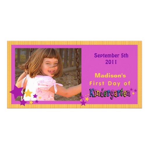 Premier jour de coutume de jardin d'enfants person carte avec photo