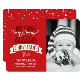 Premier joyeux petit carte photo de Noël du bébé Carton D'invitation 12,7 Cm X 17,78 Cm