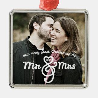 Premier Noël comme M. et Mme Keepsake Ornament Ornement Carré Argenté