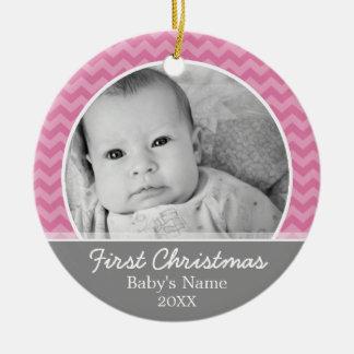 Premier Noël de Babys - chevrons roses et gris Décoration De Noël