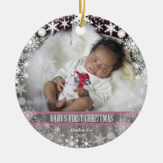 Premier Noël de bébés Ornement Rond En Céramique