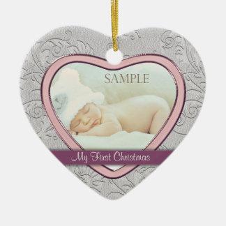 Premier Noël de coeur de bébé argenté de remous Décorations Pour Sapins De Noël