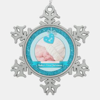 Premier Noël de coeur du bébé bleu de photo (Noël) Ornement Flocon De Neige Pewter