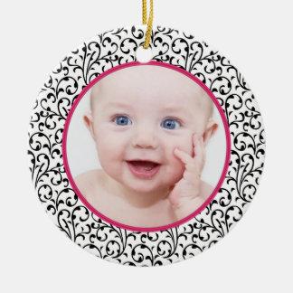 Premier Noël de damassé du bébé chic de rose Ornement Rond En Céramique