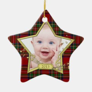 Premier Noël de tartan d'étoile de photo de Noël Ornement Étoile En Céramique