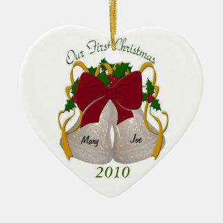 Premier ornement de Bells de mariage de Noël