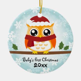Premier ornement de hibou de Noël du bébé