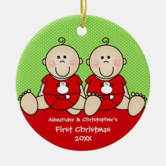 Premier ornement de Noël du jumeau mignon de bébé