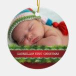 Premier ornement de photo de Noël du beau bébé