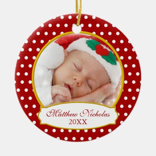 Premier ornement de photo de Noël du bébé