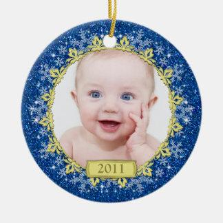 Premier ornement de photo de Noël du bébé -