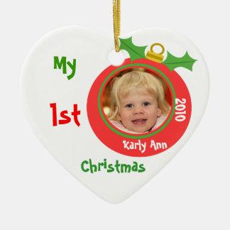 Premier ornement de photo de Noël du bébé fait sur