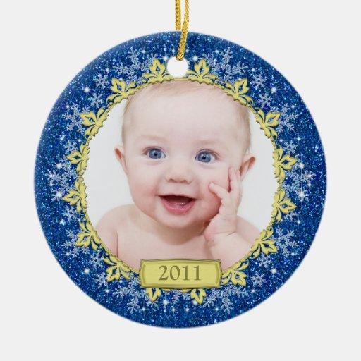Premier ornement de photo de Noël du bébé - flocon