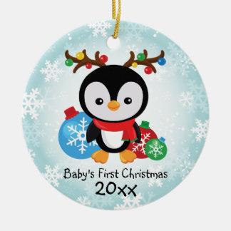Premier ornement de pingouin de Noël du bébé