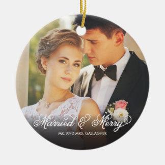 Premier ornement marié et joyeux de photo de Noël