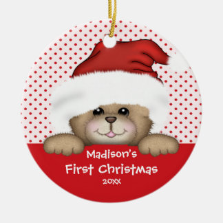 Premier ours de Père Noël d ornement de Noël du bé