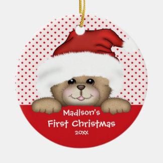 Premier ours de Père Noël d'ornement de Noël du Ornement Rond En Céramique