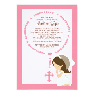 Premier rose de fille d'invitation de communion de carton d'invitation  12,7 cm x 17,78 cm