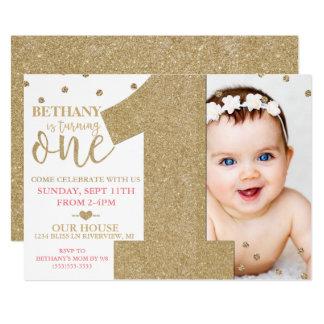 Premier scintillement d'or de Faux d'anniversaire Carton D'invitation 12,7 Cm X 17,78 Cm
