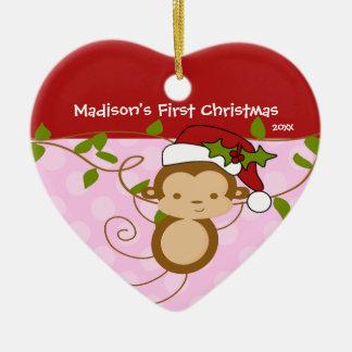 Premier singe de Père Noël de fille d ornement de