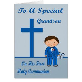 Première carte de voeux de communion de félicitati