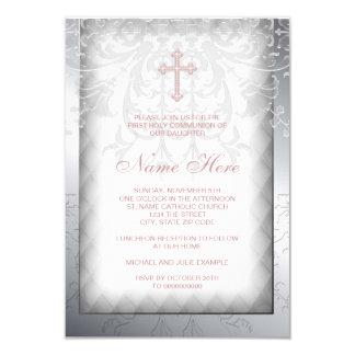 Première communion de croix rose de damassé invitations personnalisables