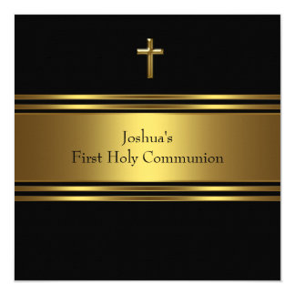 Première communion d'or de garçons noirs de croix carton d'invitation  13,33 cm