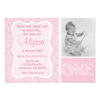 Première invitation d'anniversaire de filles roses