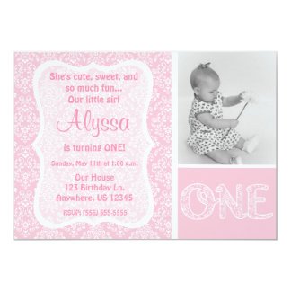 Première invitation d'anniversaire de filles roses carton d'invitation  12,7 cm x 17,78 cm