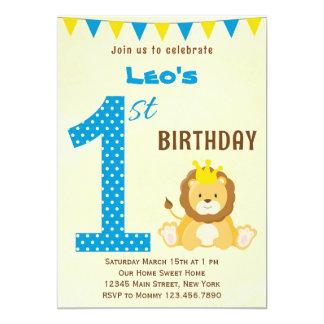 Première invitation d'anniversaire de lion mignon