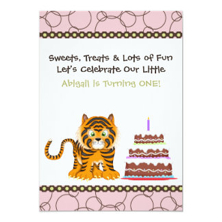 Première invitation d'anniversaire de tigre rose