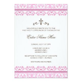 Première invitation de communion de filles roses