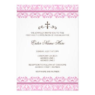 Première invitation de communion de filles roses d