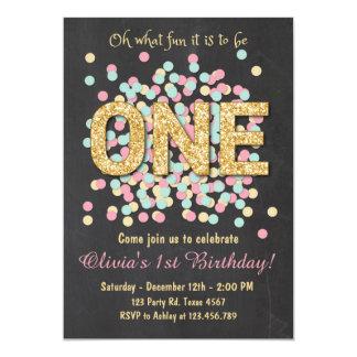 Première menthe d'or de rose de fille d'invitation carton d'invitation  12,7 cm x 17,78 cm